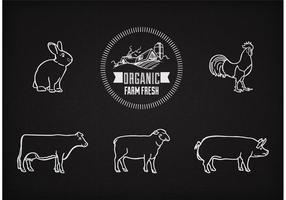 Animali da fattoria di vettore sulla lavagna