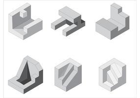 Forme vettoriali isometriche gratis