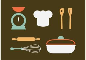 Vettori di utensili da cucina d'epoca