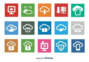 Set di icone di cloud computing