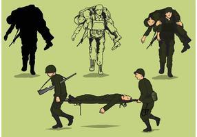 Vettori soldato feriti