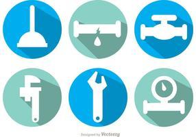 Vettori dell'icona dell'ombra lunga dell'impianto idraulico
