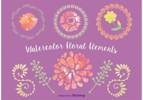 Elementi floreali di vettore dell'acquerello