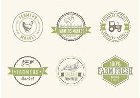 etichette di vettore del mercato degli agricoltori