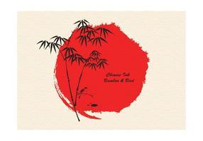Inchiostro di bambù e uccello disegnato a mano libera di vettore