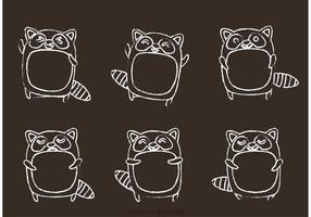 vettore del fumetto del raccoon disegnato gesso