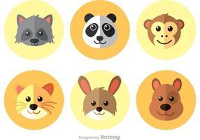 Vettore di icone piane di animali