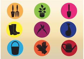 Icone di vettore dello strumento di giardinaggio