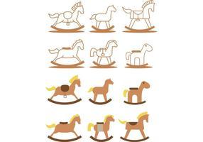 Pacchetto di cavalli a dondolo vettore
