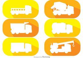 Pacchetto di vettore di autocarri con cassone ribaltabile bianco Silhouette