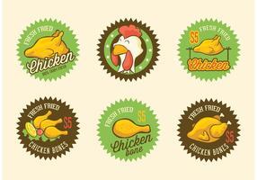 Retro etichette di pollo fritto vettoriale