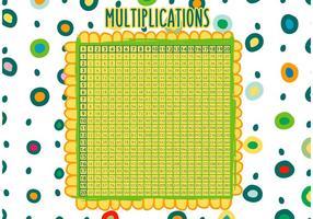 Vettore disegnato a mano della tabella di per la matematica di moltiplicazione