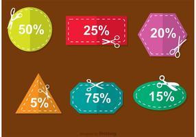 Vettori di sconto coupon forbici colorate