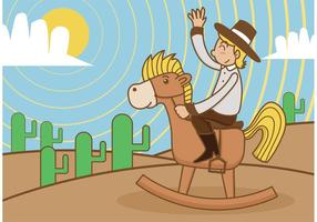 Cavallo a dondolo con Kid Cowboy vettore