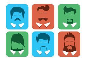 Avatar maschio vettoriali gratis con barbe