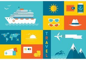 Icone di vettore di viaggio piatto gratuito
