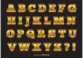 Alfabeto vettoriale oro elegante