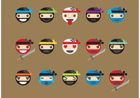 Vettori di emoticon ninja