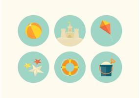 Set di icone vettoriali gratis spiaggia