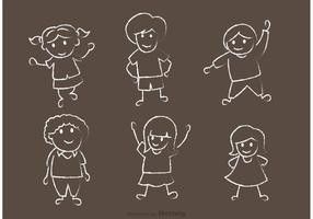 Pacchetto di vettore disegnato gesso felice di bambini