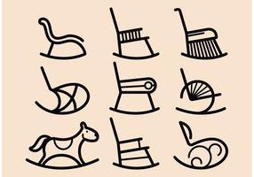 Icone vettoriali di sedia a dondolo