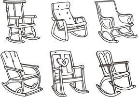 Schizzi vettoriali di sedia a dondolo