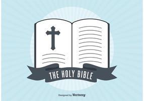 Retro illustrazione Bibbia aperta vettore