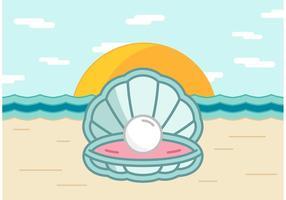Conchiglia di perla sul vettore della spiaggia