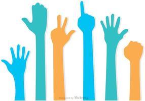 Set di mani in alto vettori