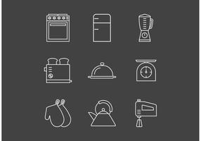 Icone di vettore di utensili da cucina vintage contorno gratuito