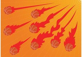 Vettori di pallacanestro in fiamme su fuoco