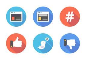 Icone piane di vettore di media sociali