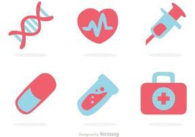 Vettore piano icone mediche