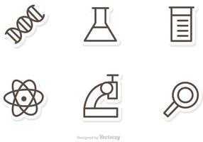 contorni il vettore delle icone di scienza