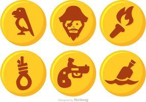 Vettore del bottone del pirata dell'oro