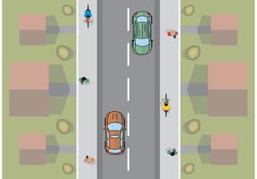 Il vettore minimo piano di vista aerea dell'automobile libera