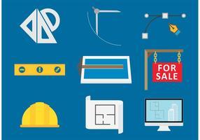 Icone di vettore di strumenti di architettura