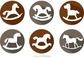 Vettori di icone ombra lunga cavallo a dondolo