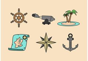 Pacchetto di icone di vettore di avventura del pirata