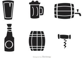 Vettore delle icone del whiskey nero