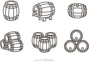 Vettore delle icone del profilo del barilotto del whiskey