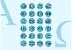 Piccoli tappi di alfabeto greco vettoriali gratis