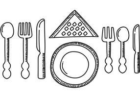 cena set tavolo vettoriale
