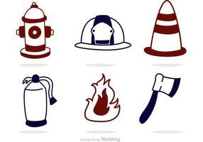 contorno pacchetto di icone vettoriali pompiere
