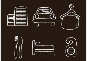 Chalk Drawn Hotel Icons Vettori