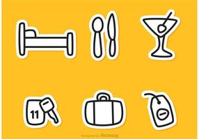 Hotel Outline Icons Vettori