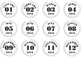 Calendario tipografico 2016 vettore