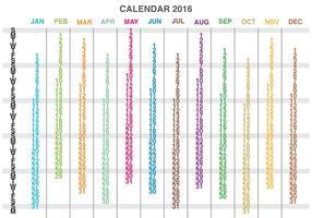 Vettore del calendario 2016 delle colonne