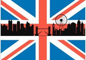 Bandiera britannica libera con il vettore di paesaggio urbano di Londra