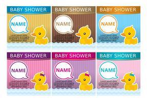 Inviti di anatra in gomma per baby shower vettore
